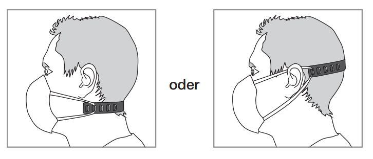 Hinweis für die Haltebänder der Mund-Nasen-Schutzmaske